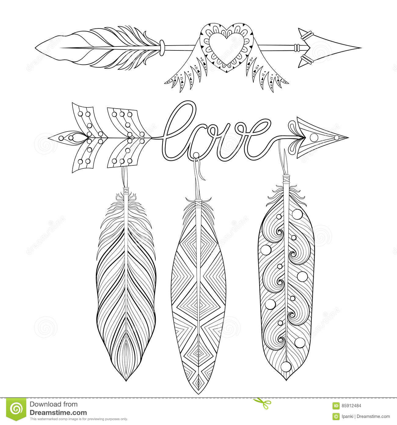 Bohemian Love Arrows Set With Feathers For Adult Coloring