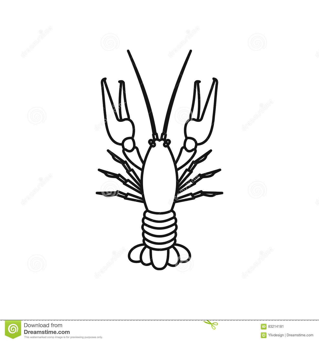 Boiled Crawfish Icon Outline Style Stock Vector