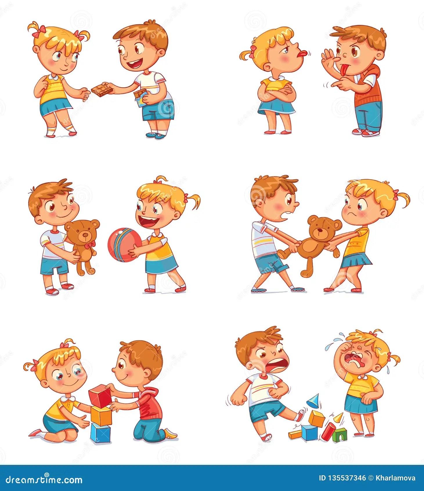 Bon Et Mauvais Comportement D Un Enfant Illustration De