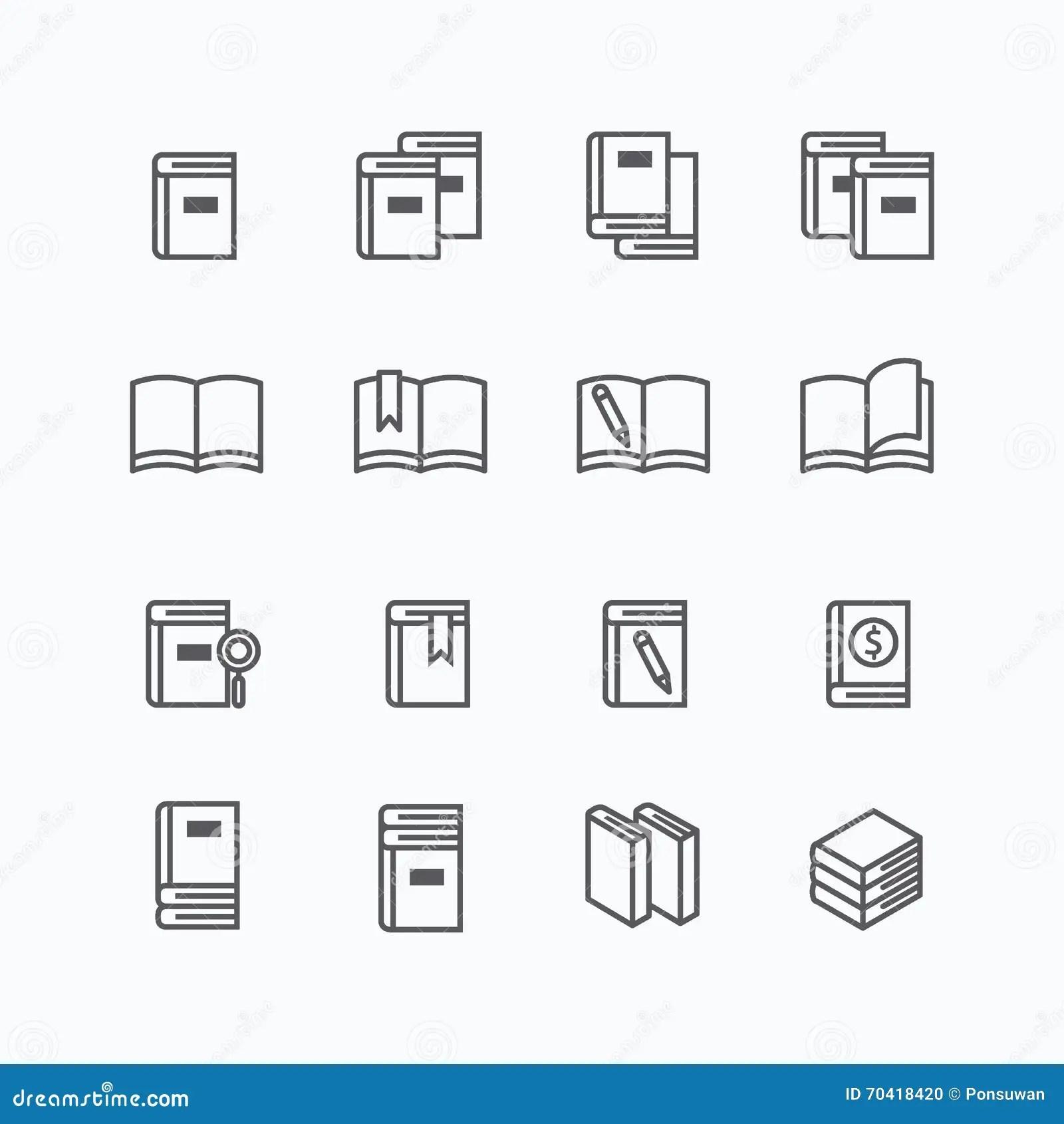 Book Flat Line Icons Design Vector Set Stock Vector