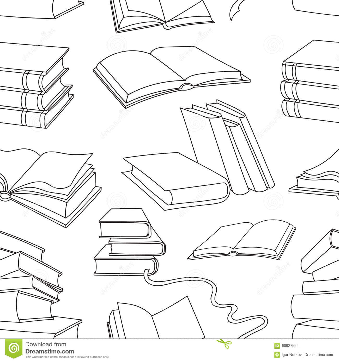 Books Pattern On White Background Stock Vector