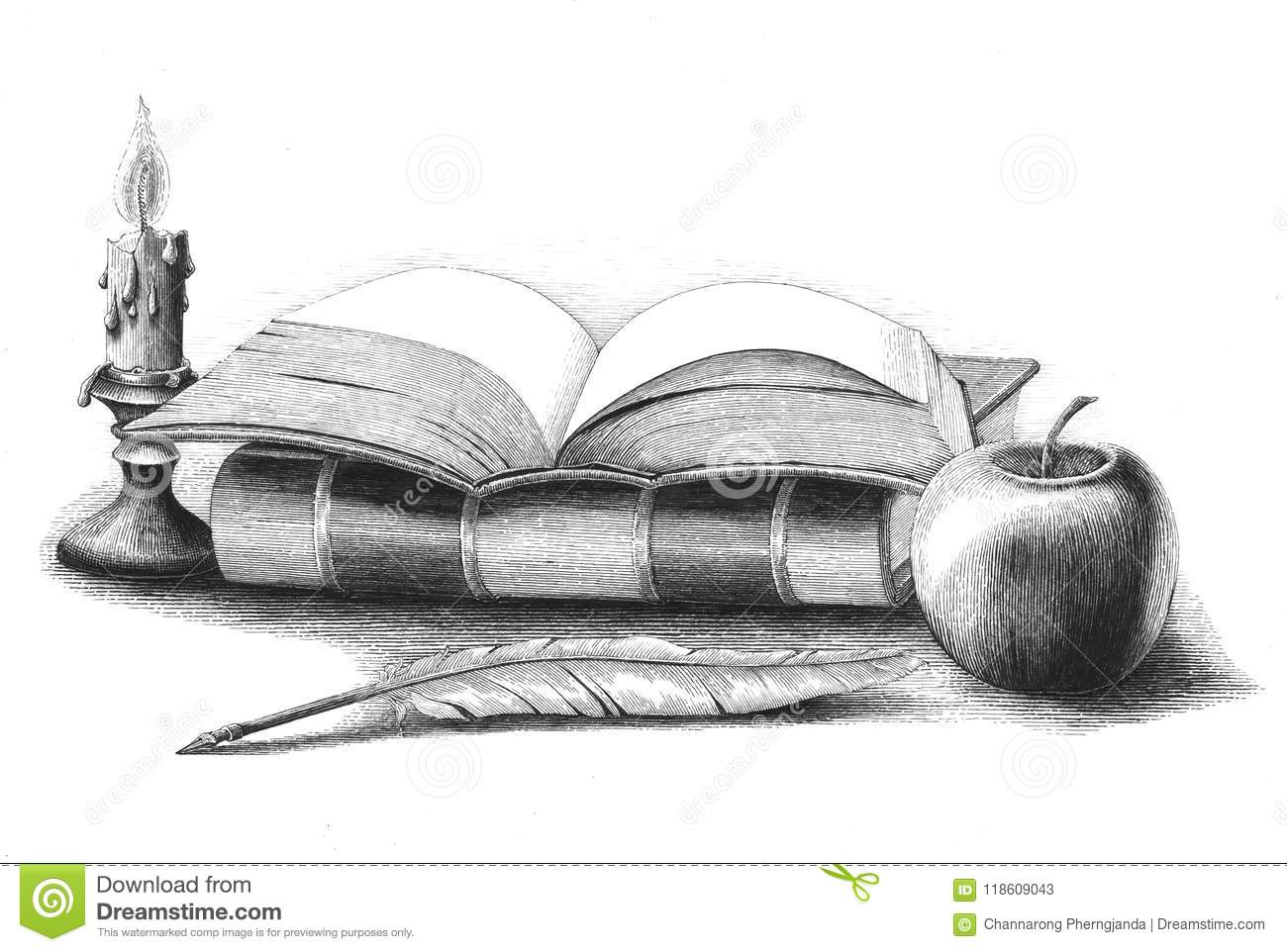 Books Stack With Apple,quill Pen,candle Hand Drawing