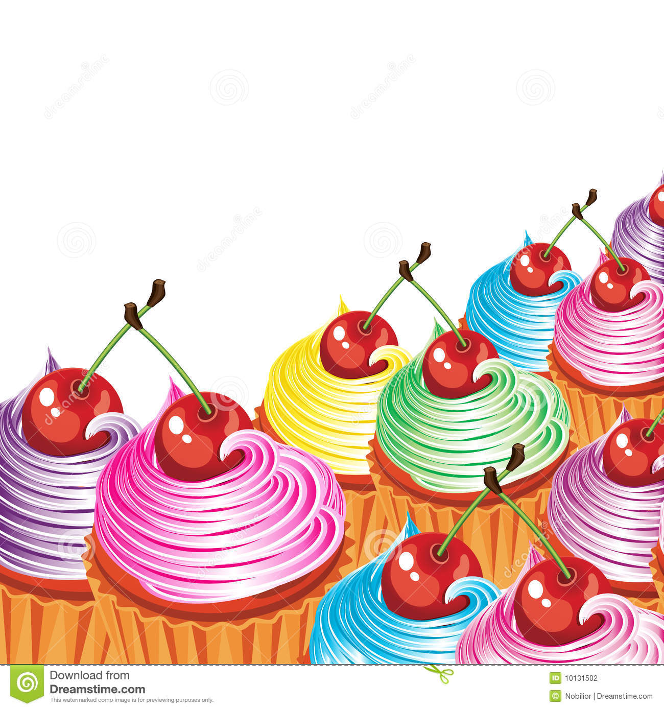Border Of Cakes With Cream And Cherries Stock Vector
