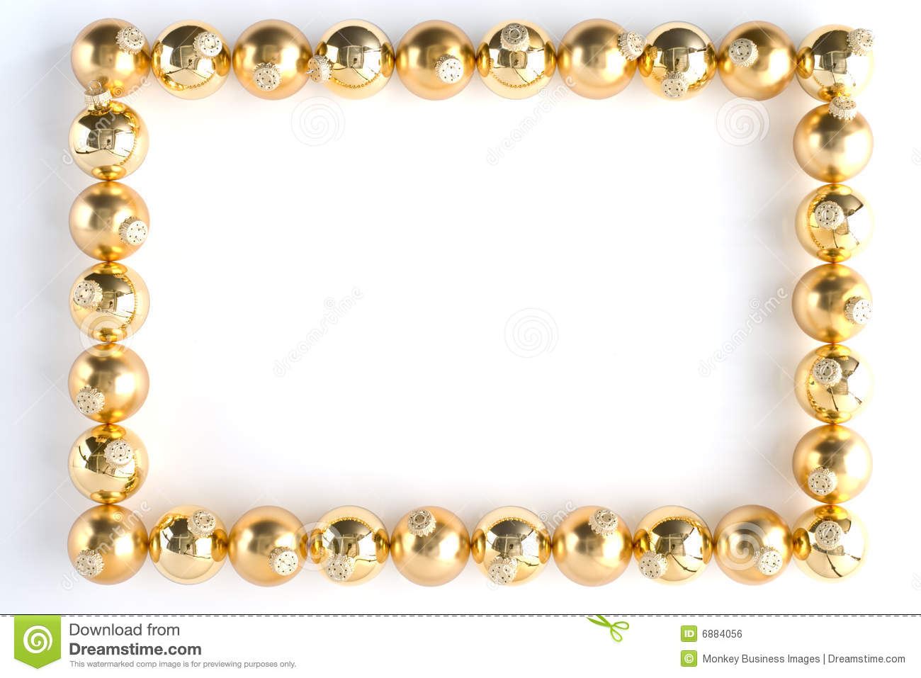 Border Made From Gold Baubles Royalty Free Stock Image