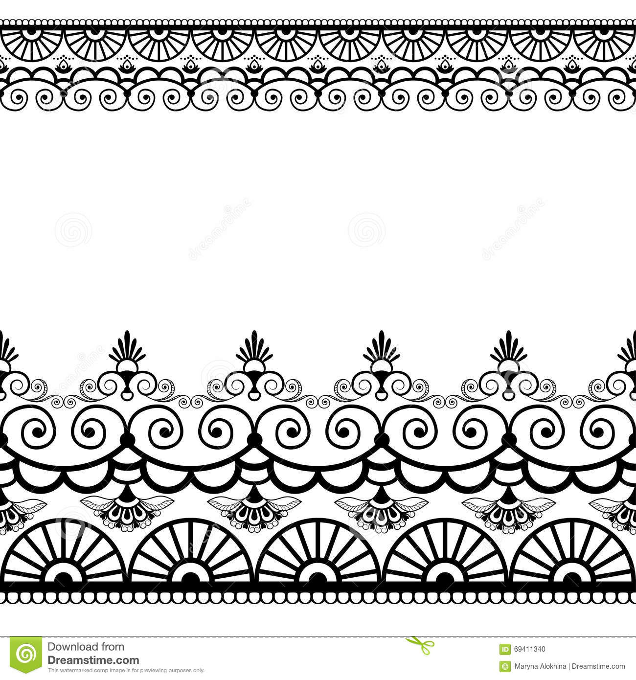 Border Pattern Elements With Flowers And Lace Lines In