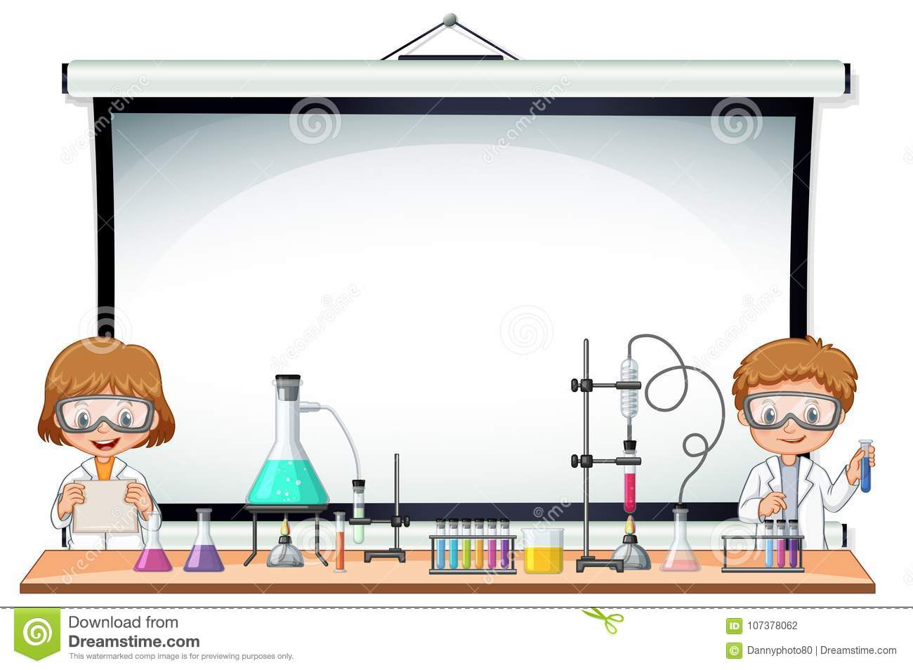 Border Template With Kids In Science Lab Stock Vector