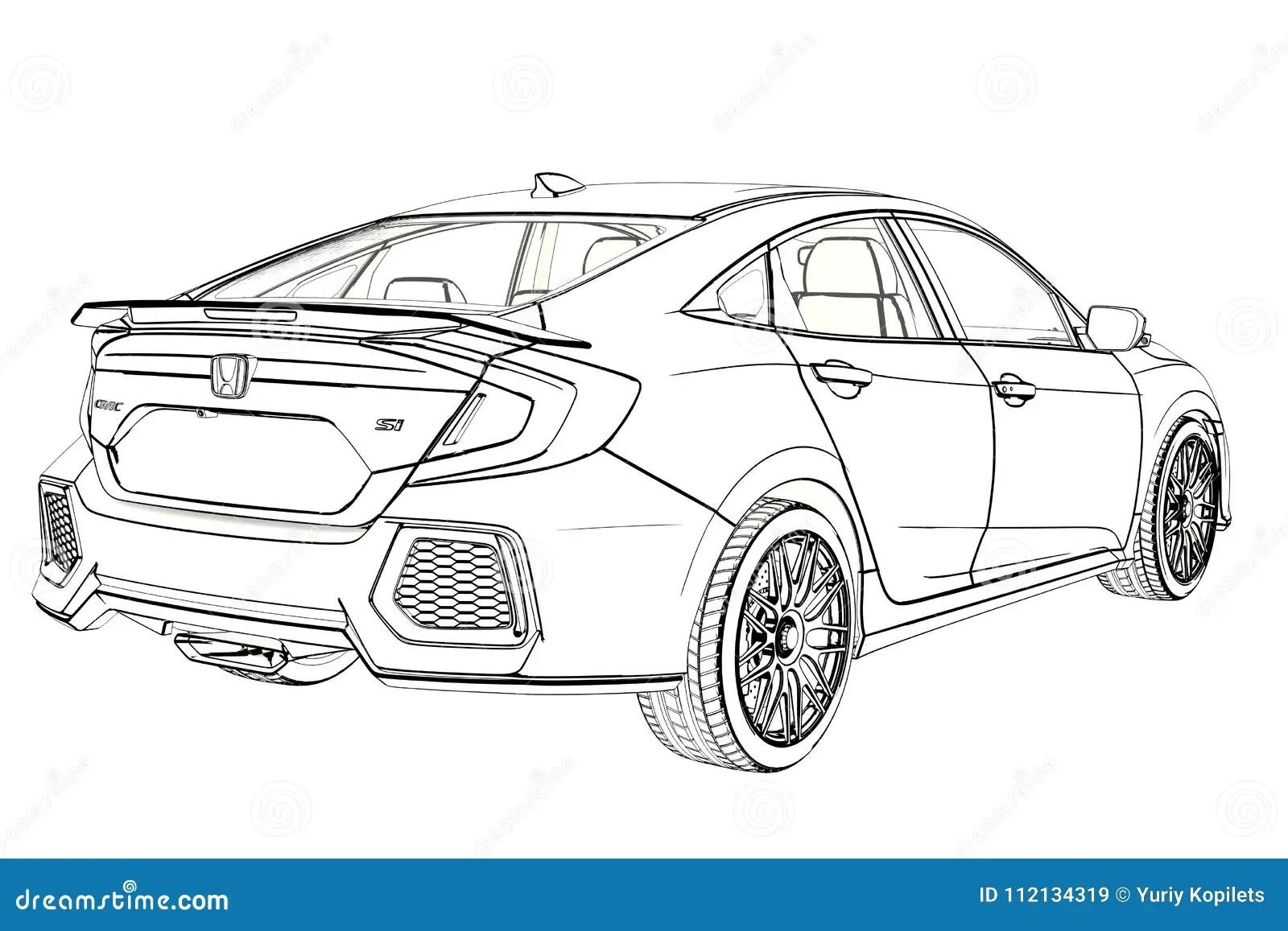 Bosquejo Del Grafico De Honda Civic Del Sedan