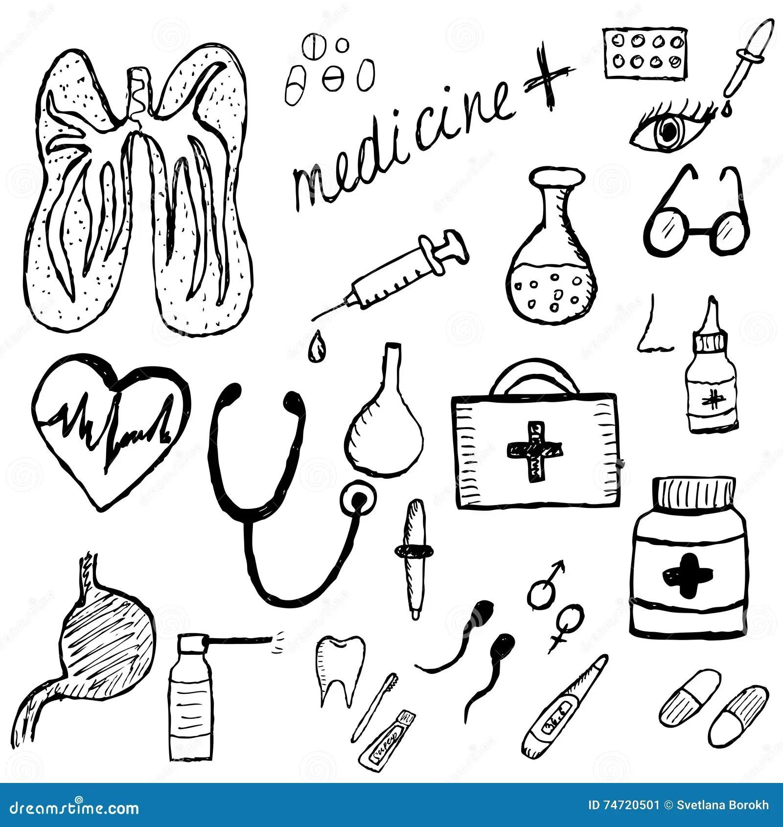 Bosquejo Medico Del Sistema Estilo Del Dibujo De La Mano