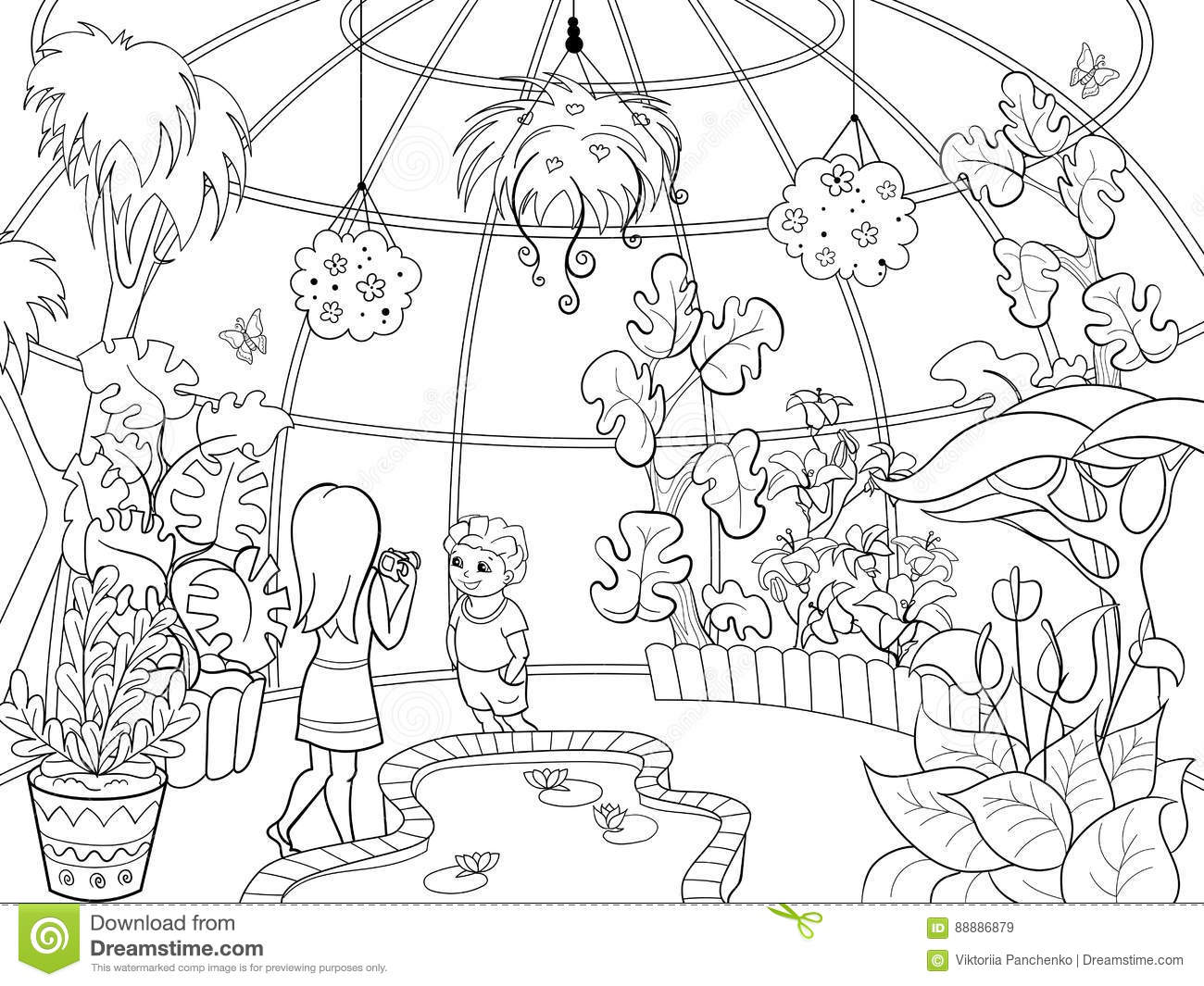 Botanical Garden Cartoon Vector Illustration Stock Vector
