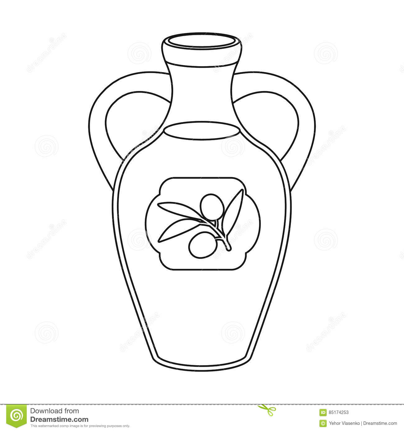 Bottle Of Olive Oil Icon In Outline Style Isolated On White Background Spain Country Symbol