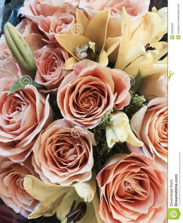 Bouquet Of Mother's Day Or Valentine Flowers In Peach And ...