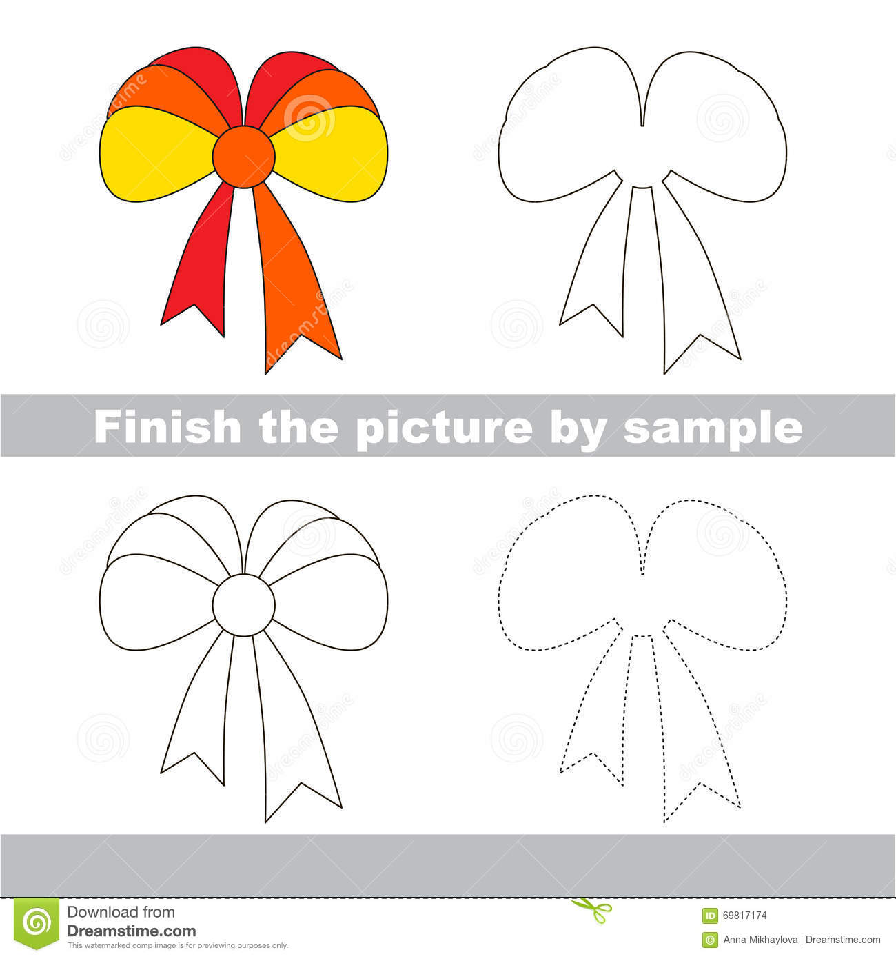 Bow Drawing Worksheet Stock Vector