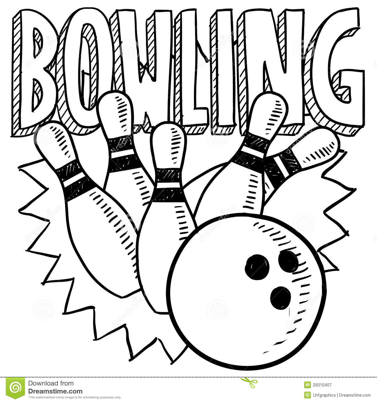 Bowling Sketch Stock Vector Illustration Of Strike Ball