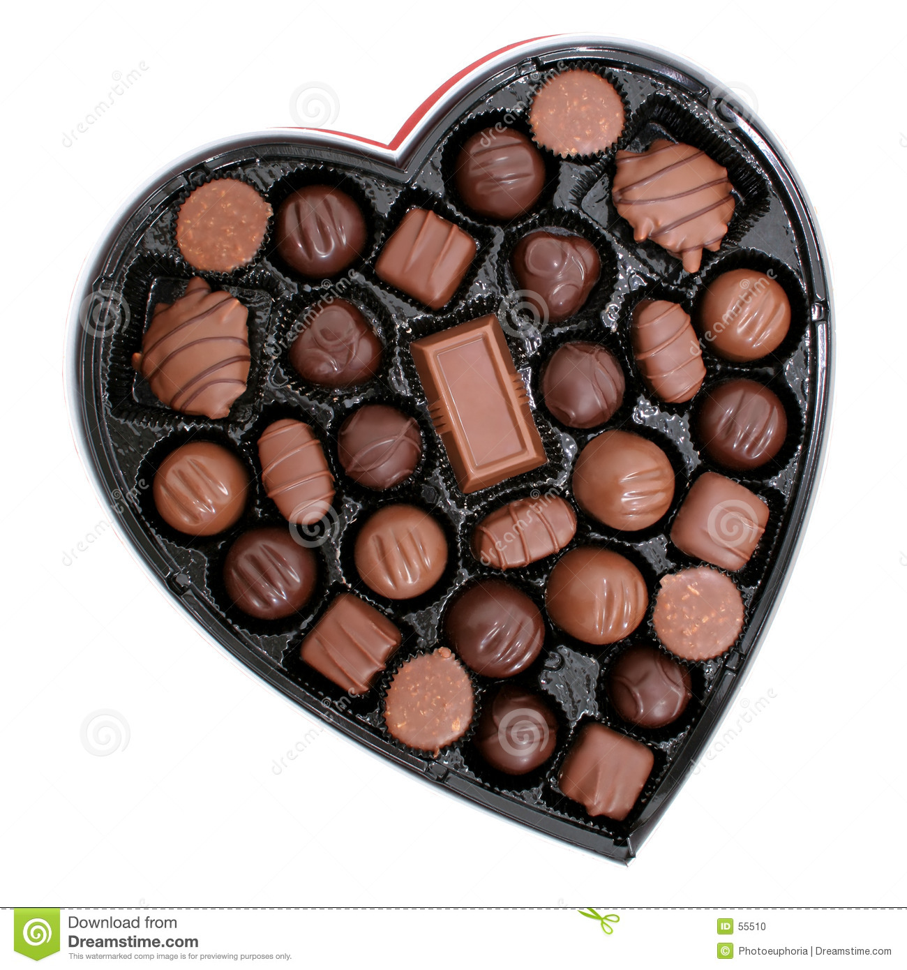 Box Of Chocolates In A Heart Shape 82mp Image Stock