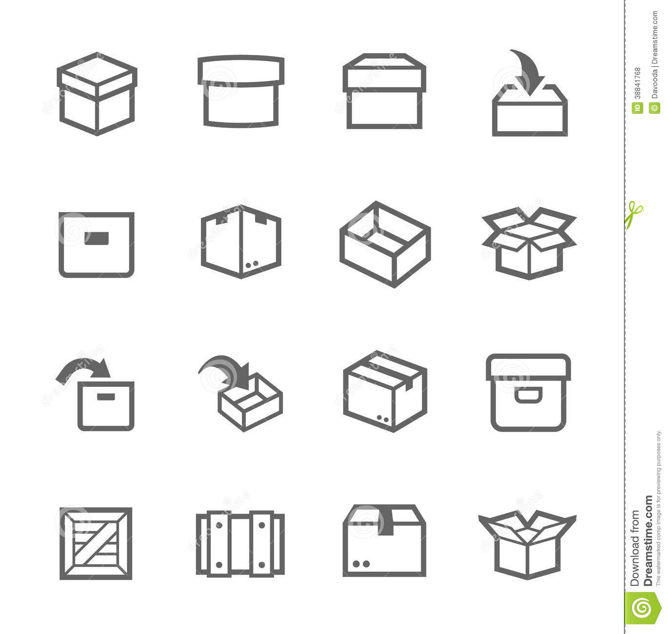 Box And Crates Icons Stock Vector