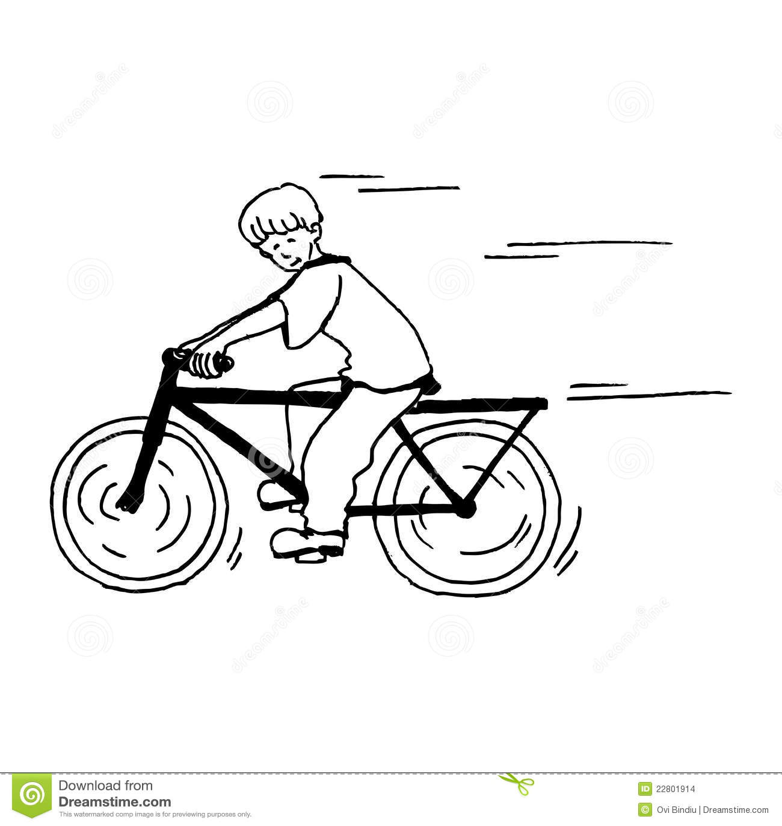Boy On The Bike Stock Illustration Illustration Of White