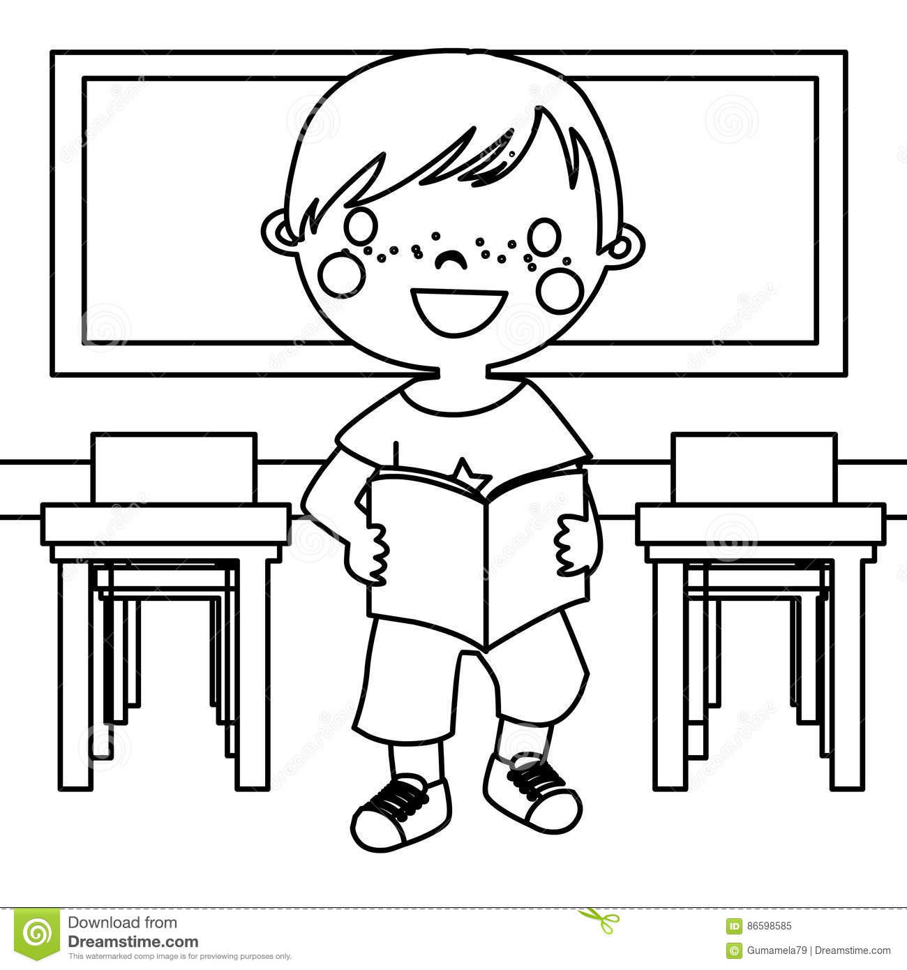 Boy In Classroom Coloring Page Stock Illustration