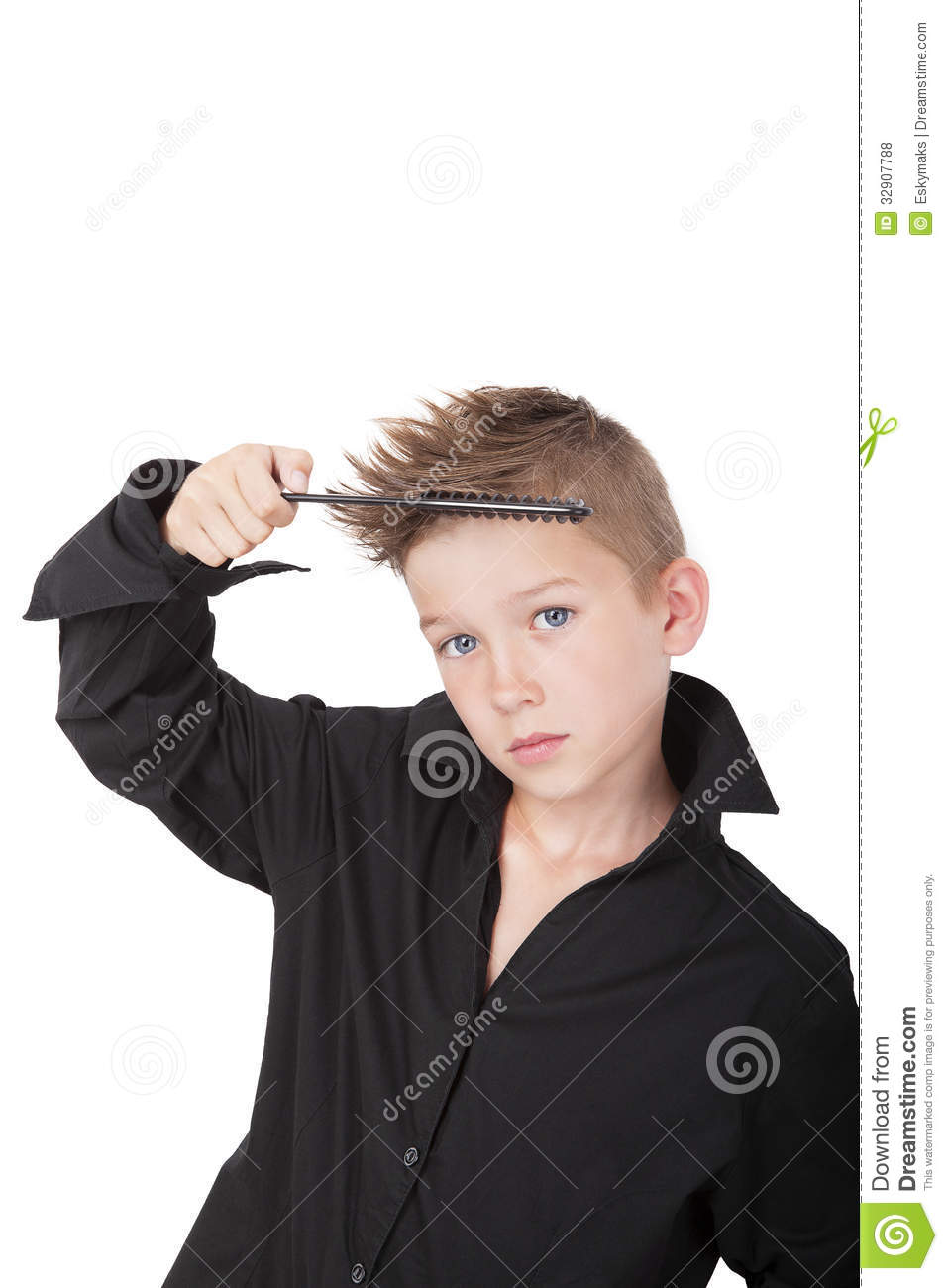 Boy With Cool Hipster Haircut Stock Photo Image 32907788