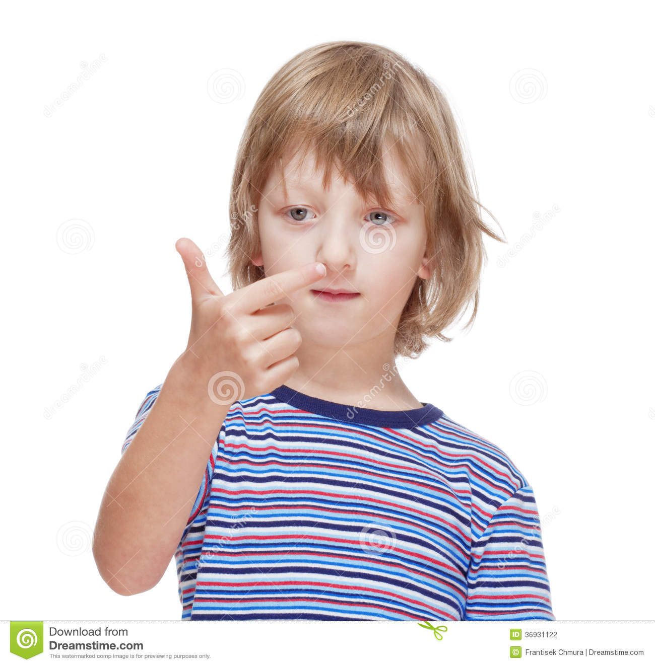 Boy Counting On Fingers Of His Hand Stock Photo