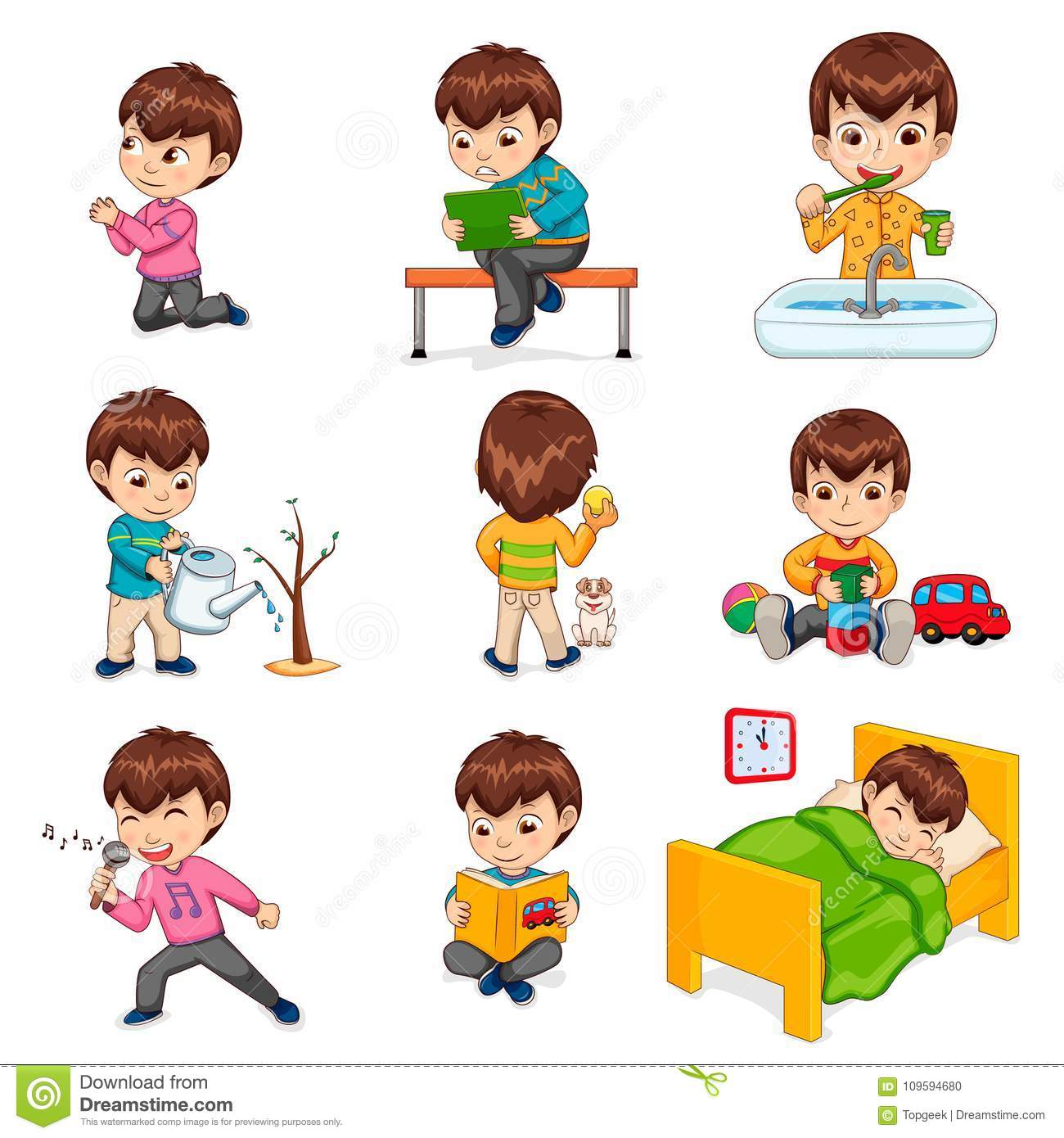 Boy Does Daily Routine Actions Illustrations Set Stock