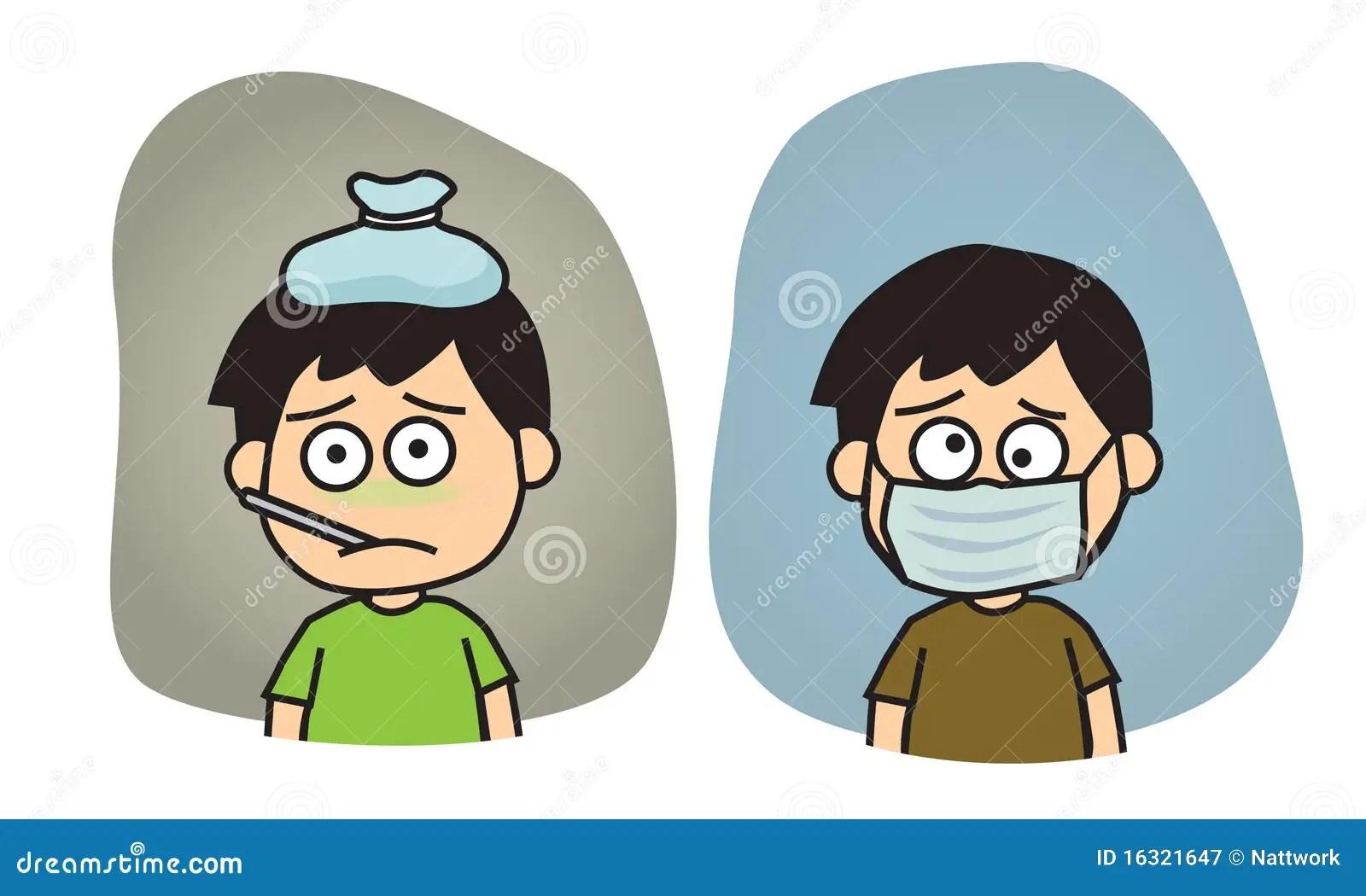 Boy Feeling Sick Illustration Stock Vector