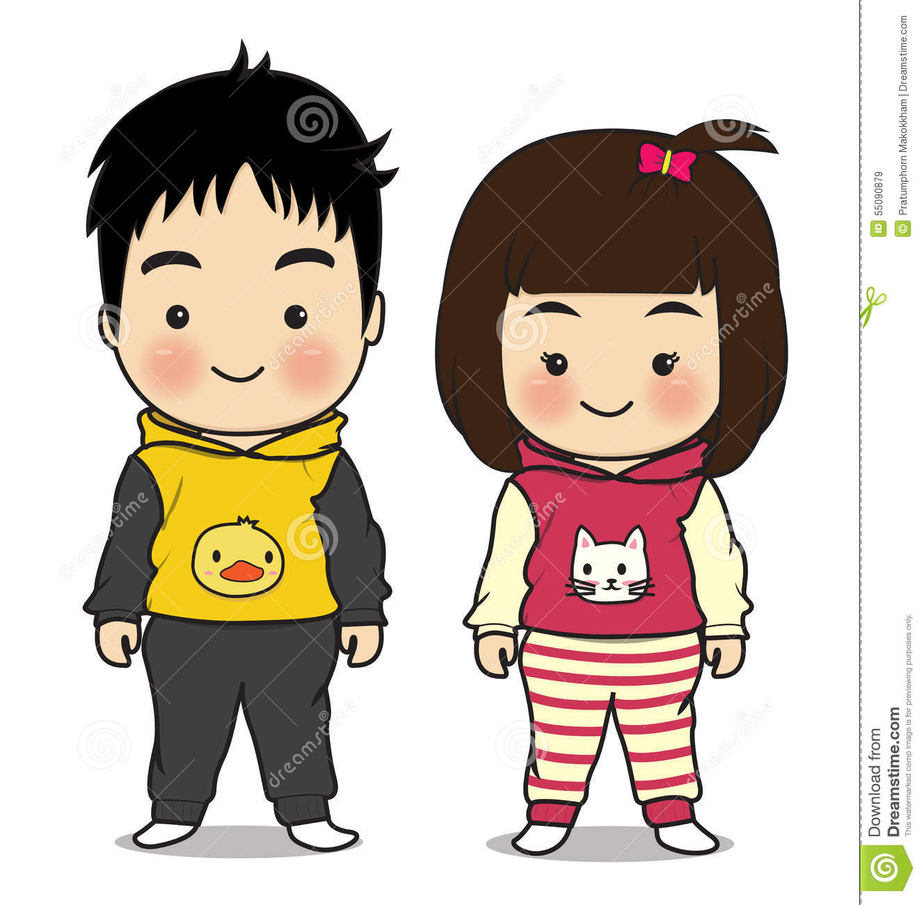 Boy And Girl Character Cartoon Stock Vector