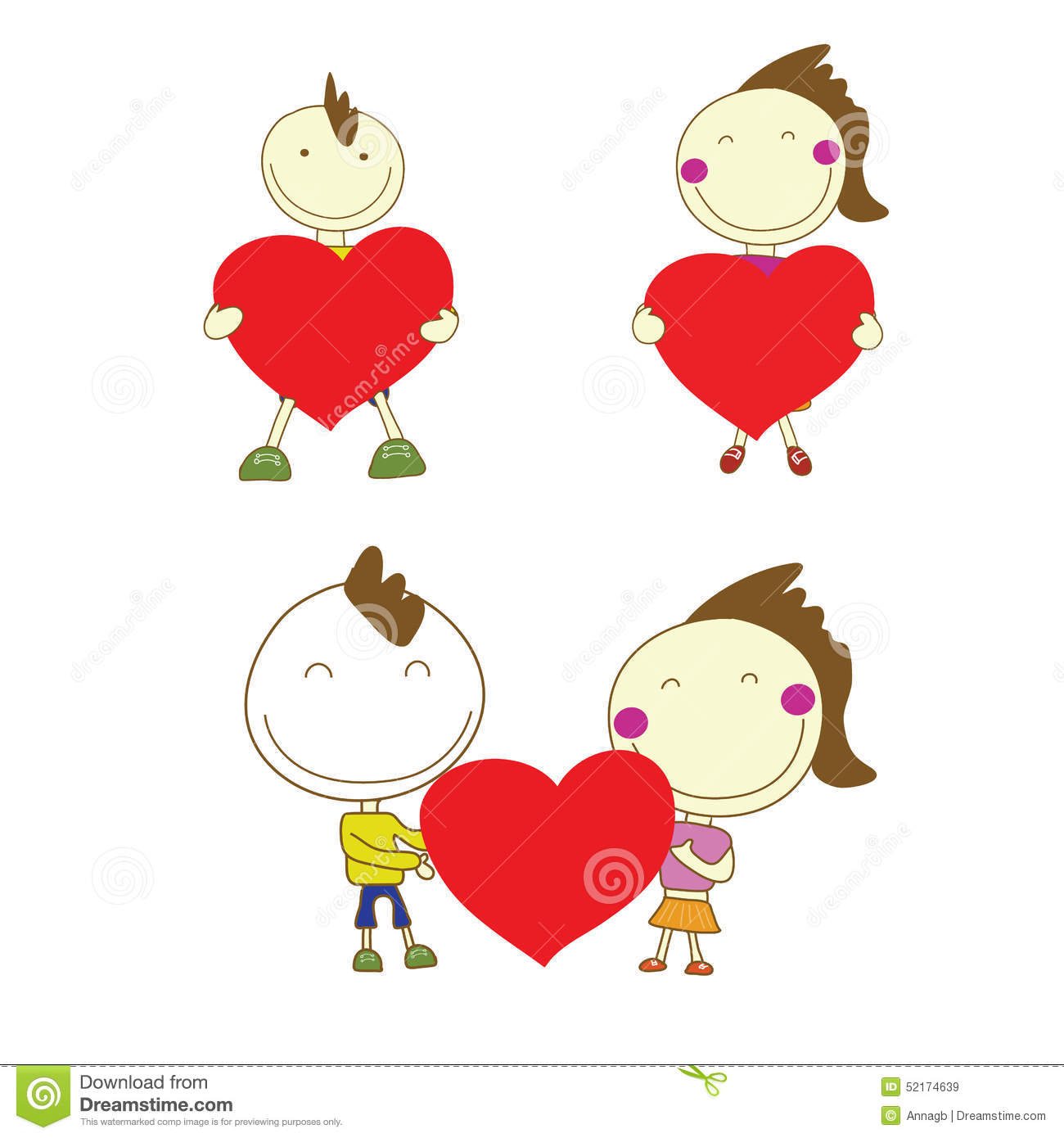 Cute Boy Holding A Red Heart Valentine Royalty Free