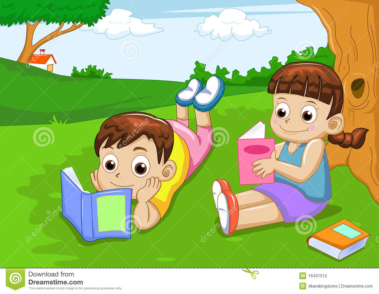 Boy And Girl Reading Stock Vector. Illustration Of Design