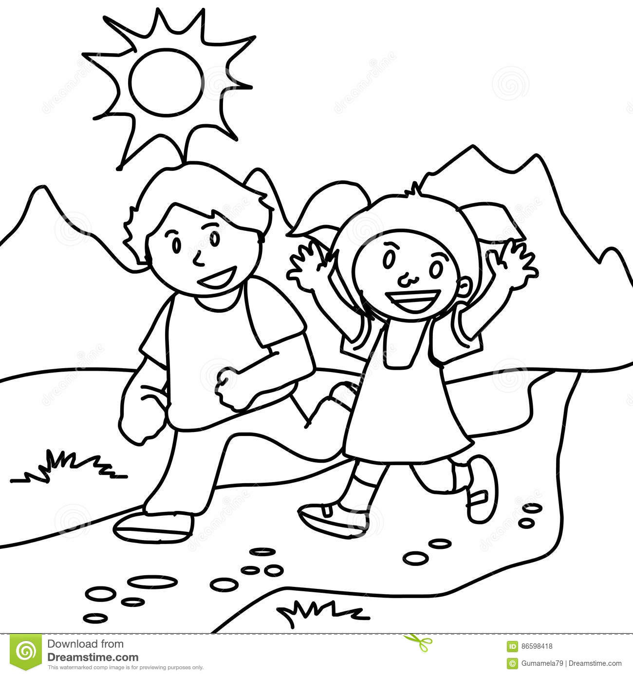 Walking To School Coloring Pages