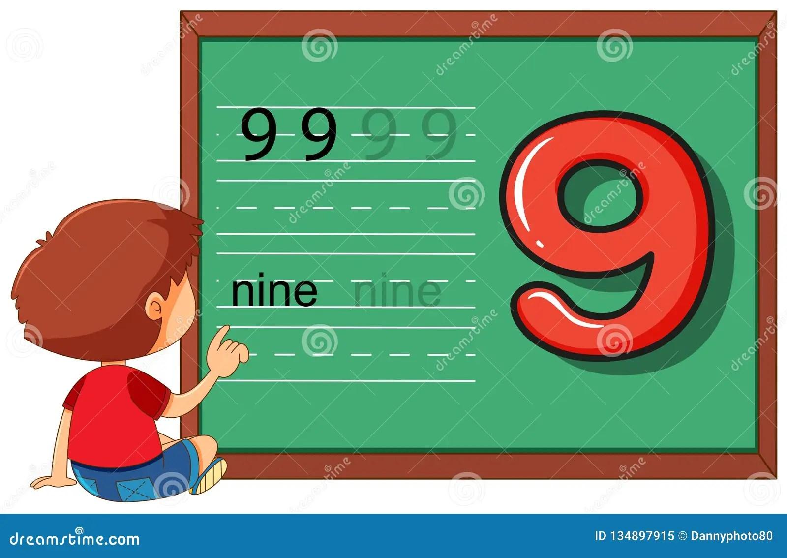 Boy On Number Nine Worksheet Stock Vector