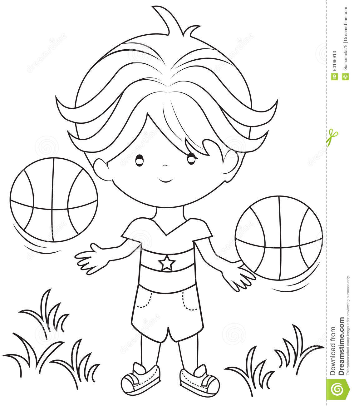 Boy Playing Basketball Coloring Page Stock Illustration