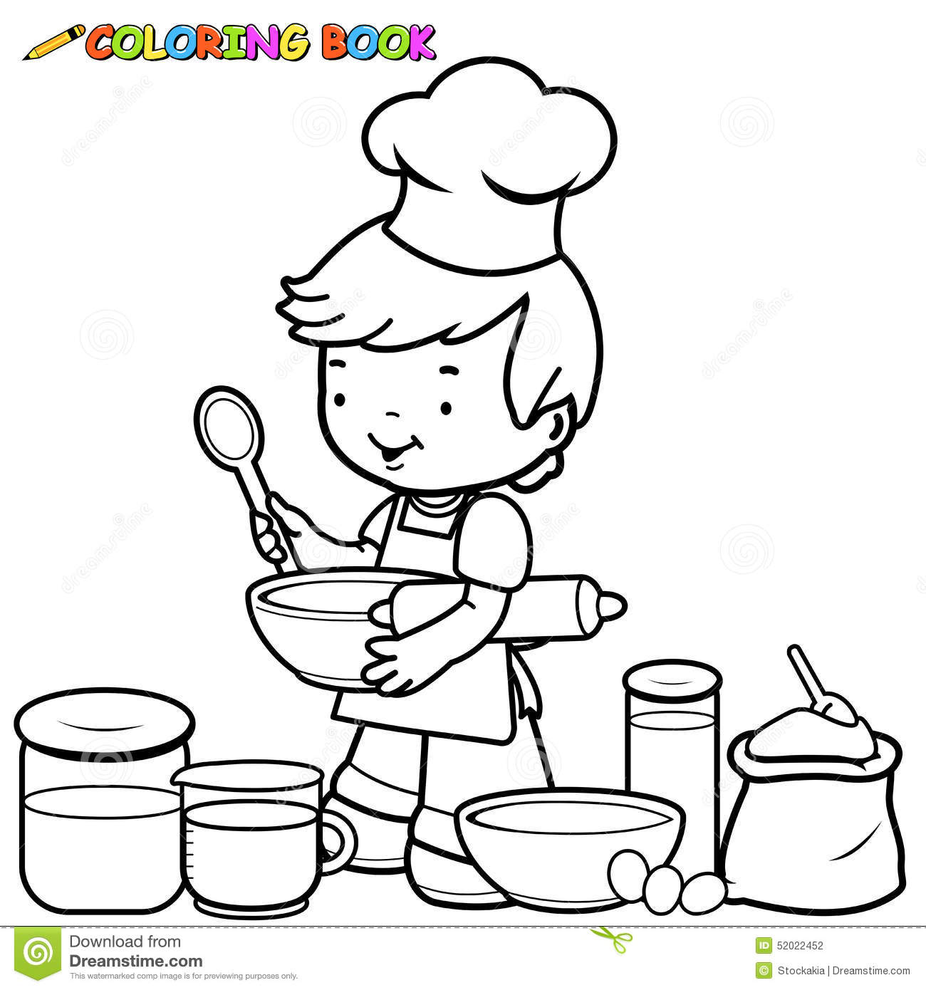 Boy Cooking Coloring Page Stock Vector Illustration Of