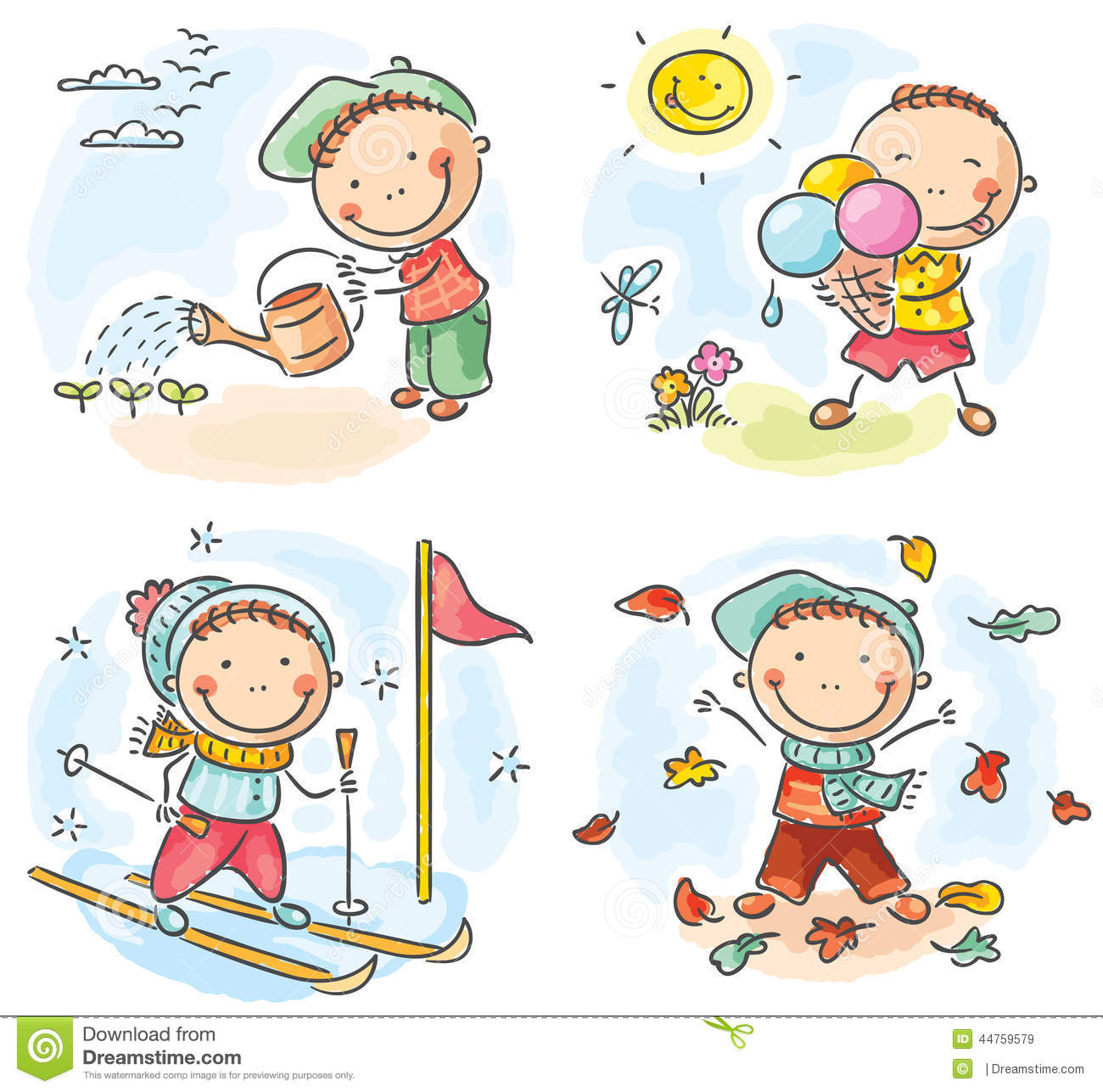Boy S Activities During The Four Seasons Stock Vector