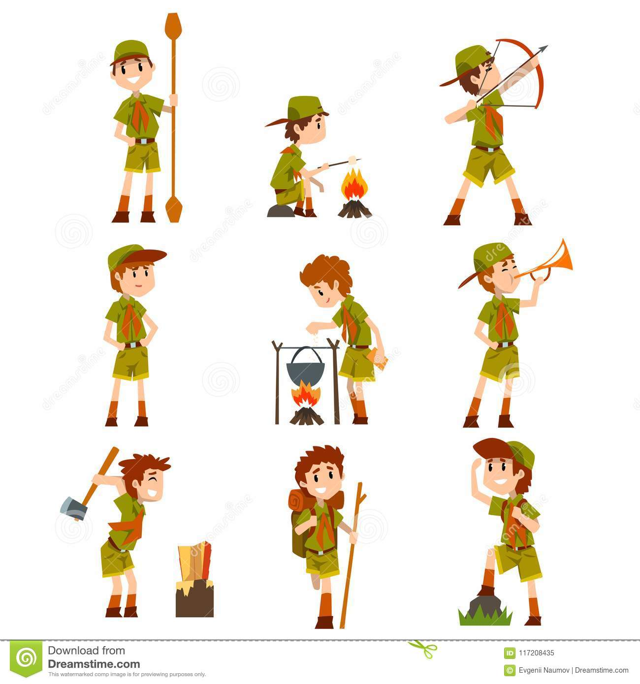 Boy Scouts Set Boys In Scout Costumes With Hiking