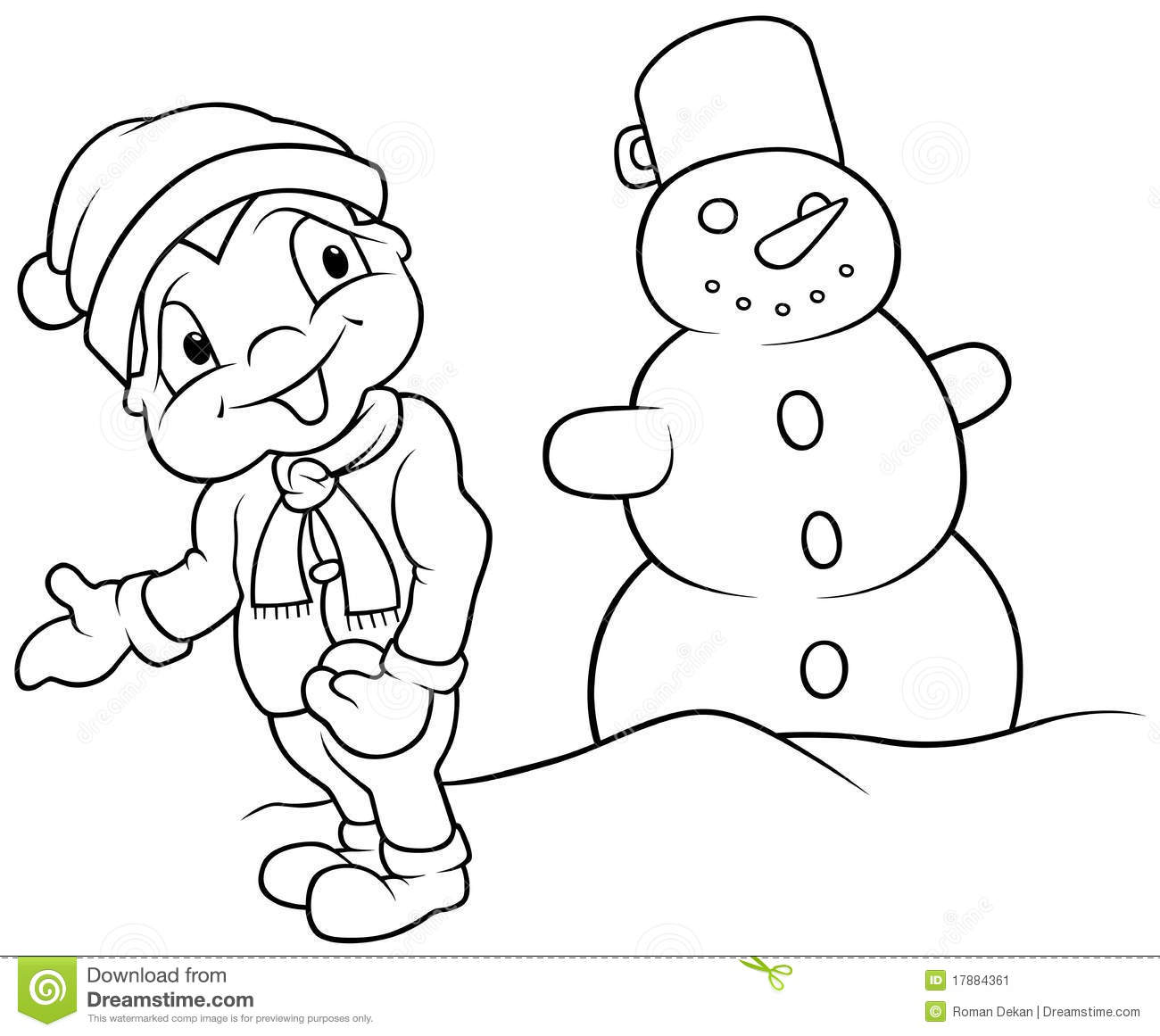 Boy And Snowman Stock Vector Illustration Of Snow People