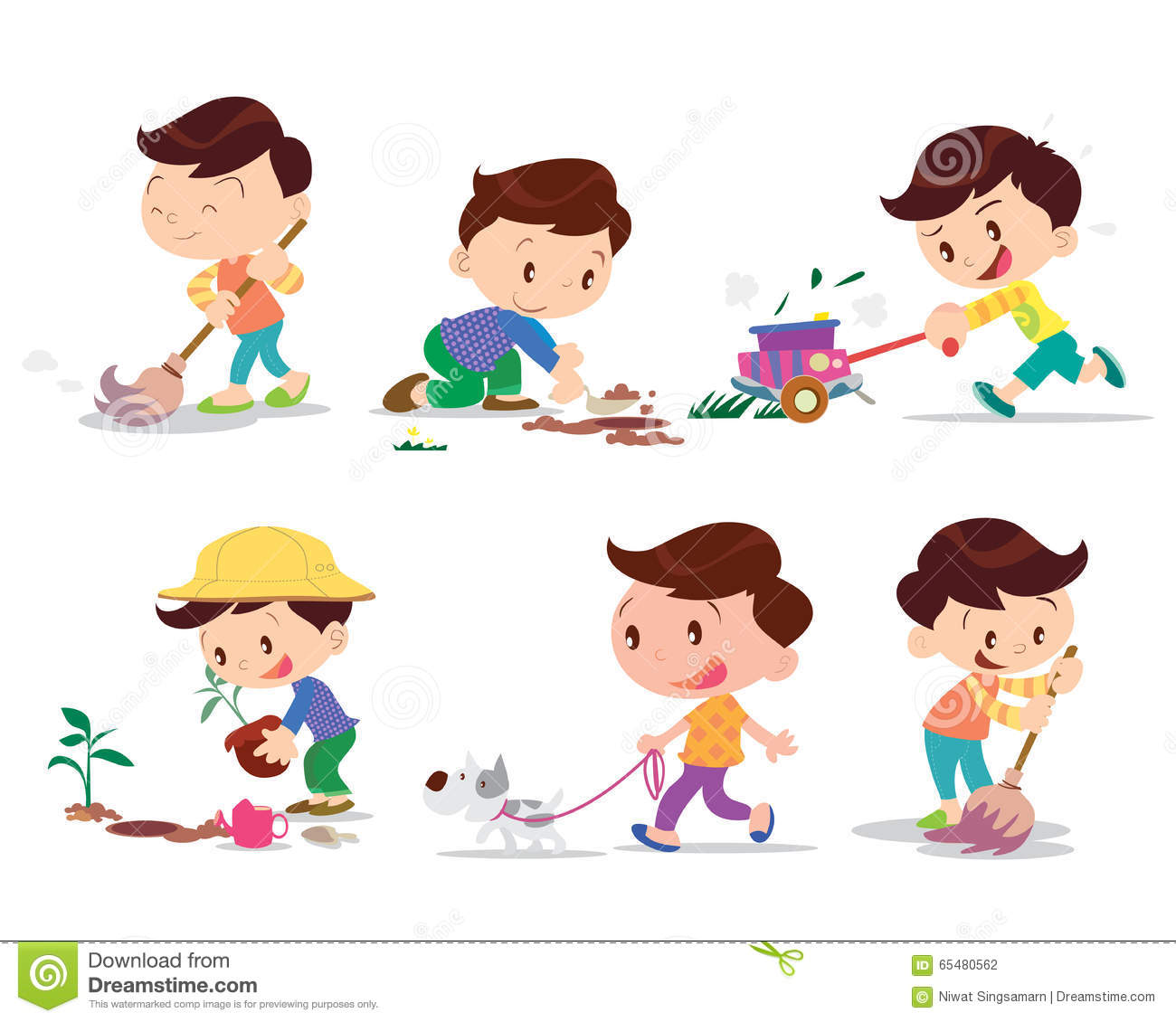 Boy Working Home Many Action Stock Vector