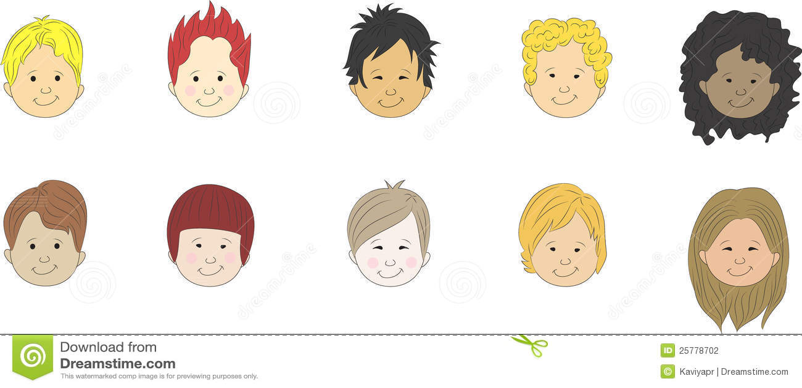 Boys Cartoon Faces Stock Illustration Image Of Brunette