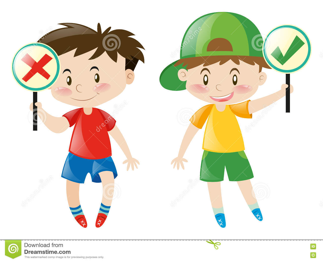 Boys Holding Right Or Wrong Sign Stock Illustration