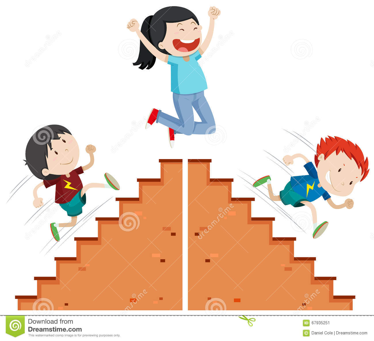 Boys Running Up And Down The Stairs Stock Vector