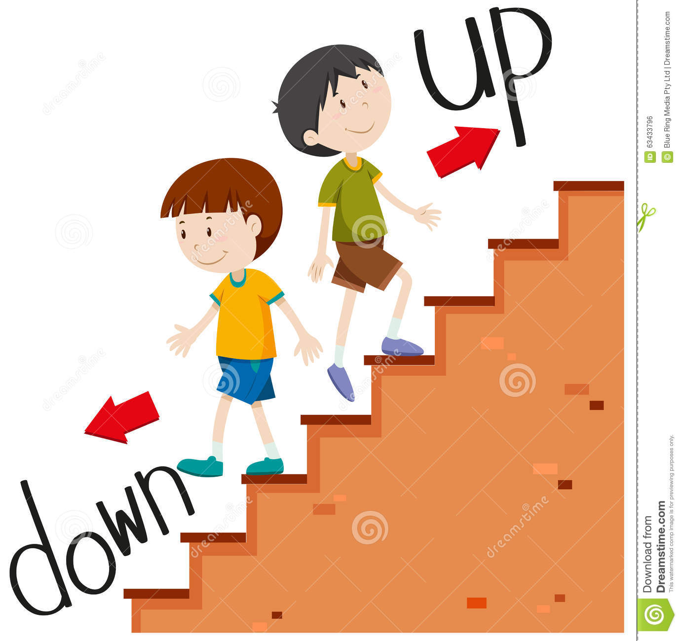 Boys Walking Up And Down Stock Vector Illustration Of