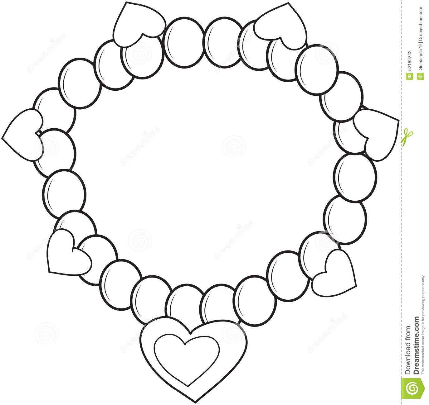 Bracelet Coloring Page Stock Illustration