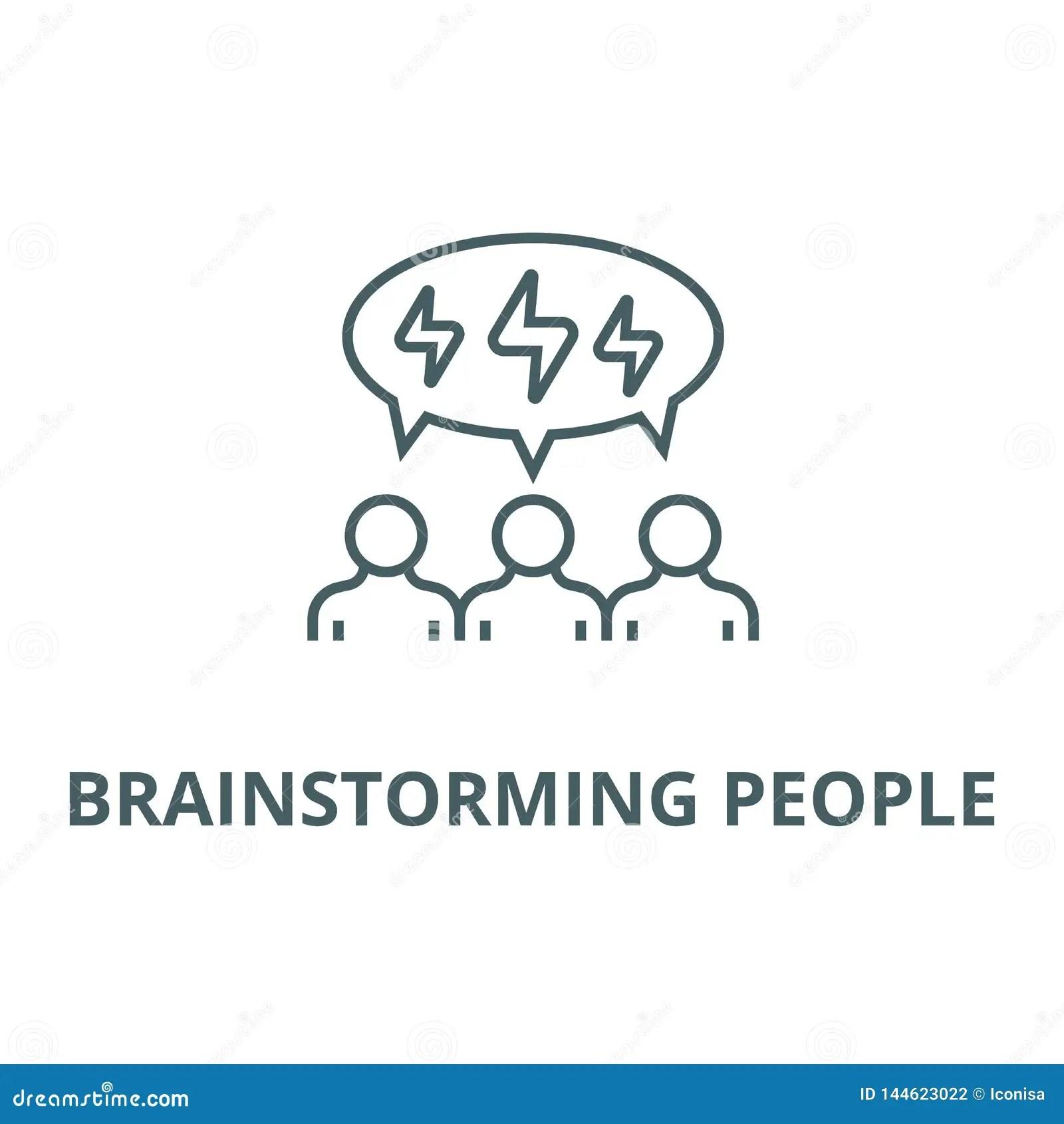 Brainstorming People Line Icon Vector Brainstorming
