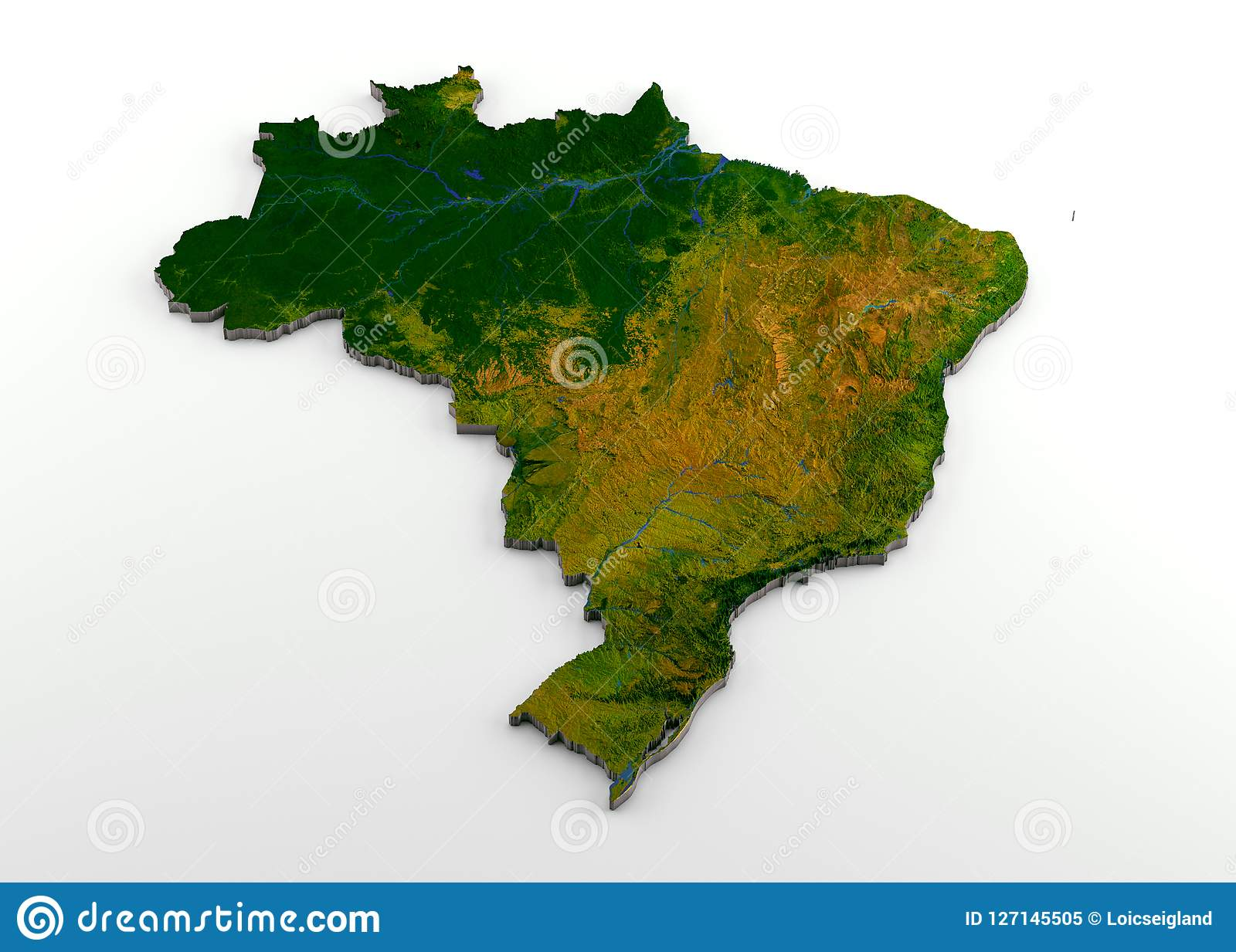 Brazil 3d Physical Map With Relief Stock Illustration