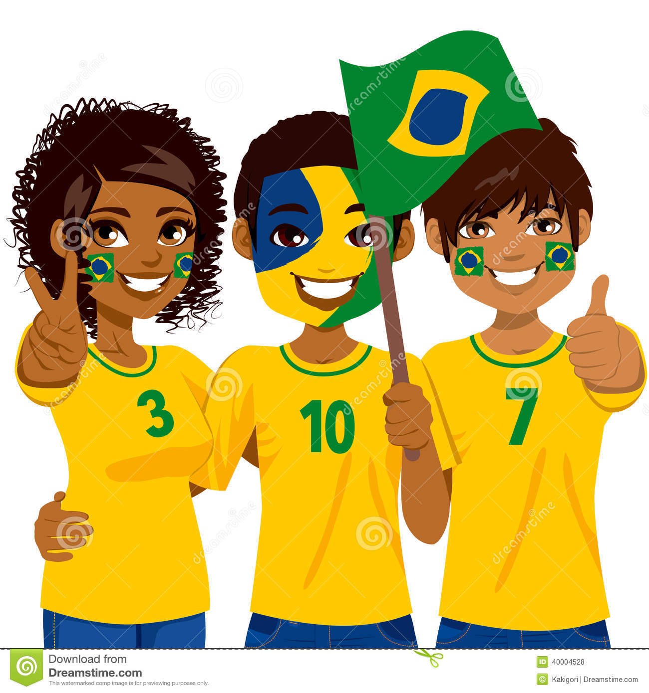 Brazilian Soccer Fans Stock Vector Illustration Of