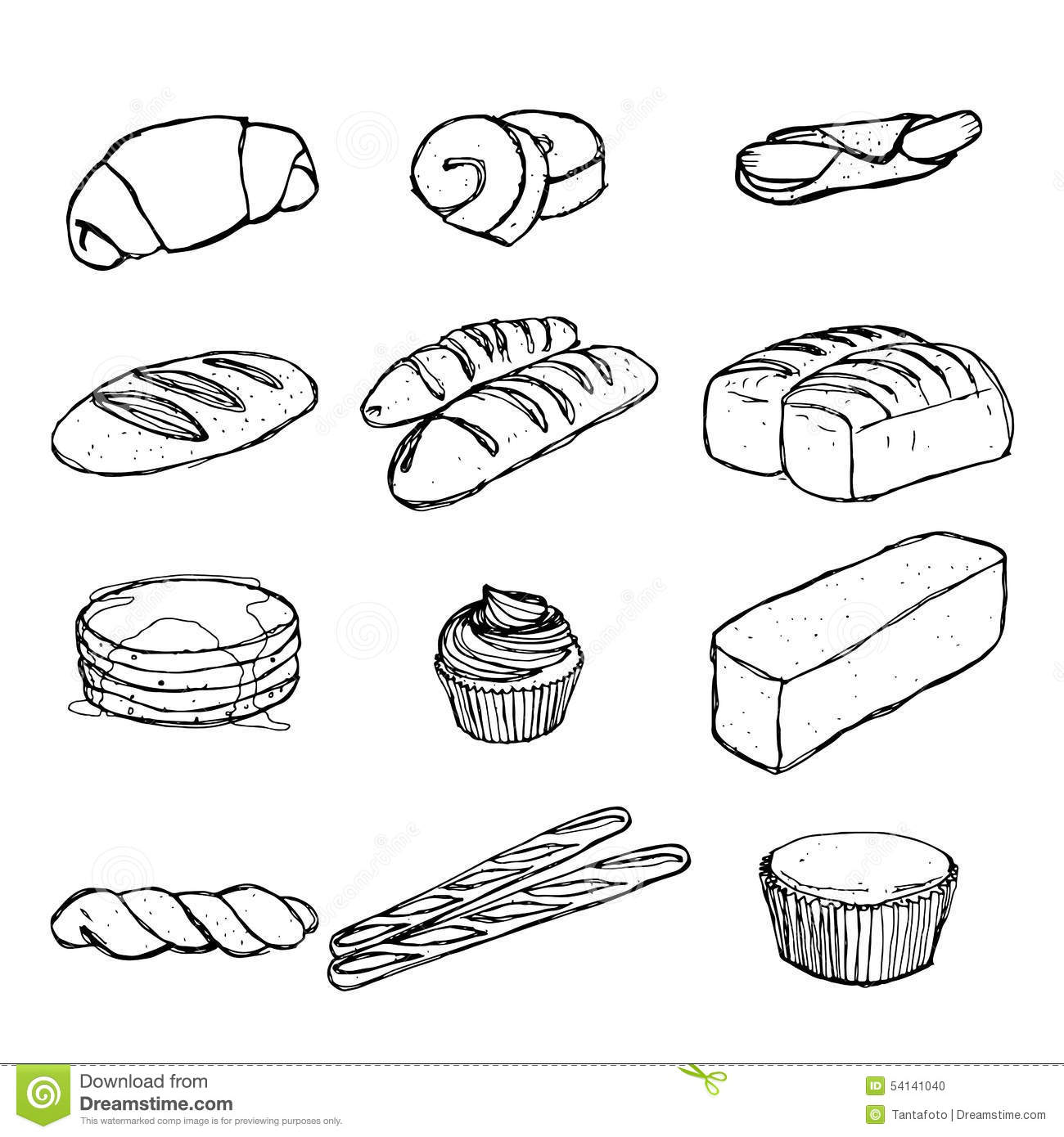 Bread Hand Drawing Set Eps 10 Stock Vector