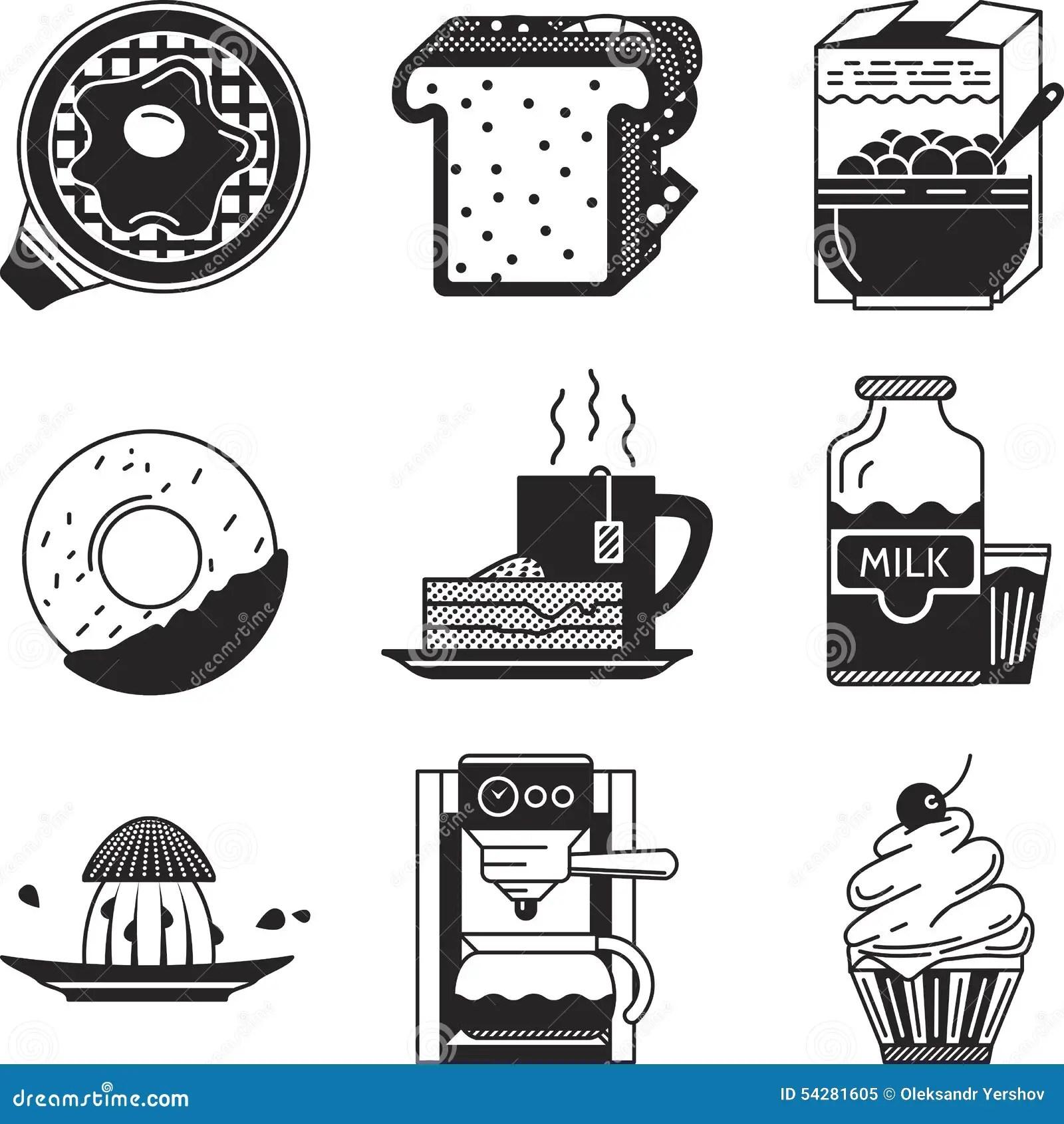 Breakfast Black Icons Stock Illustration Image Of Icon