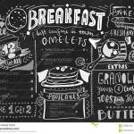 Breakfast Menu Design Template Modern Lettering With Sketch Icons Of Food On Chalkboard Background Restaurant Cafe Stock Vector Illustration Of Card Isolated 105861445
