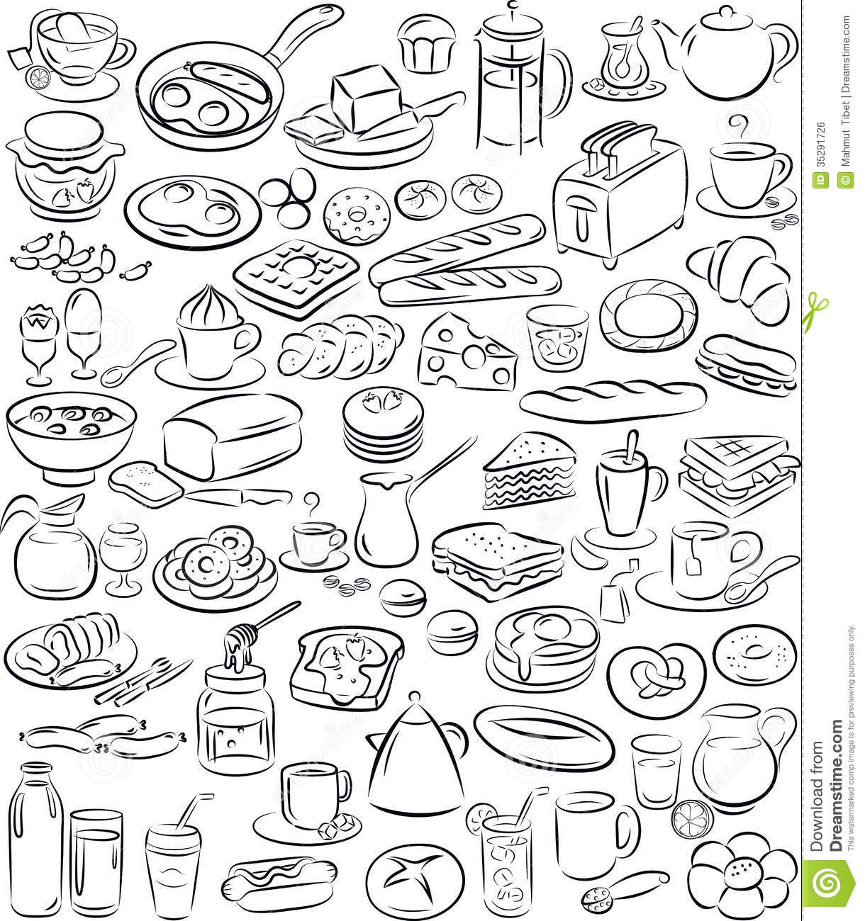 Breakfast Stock Vector Illustration Of Contour Meal