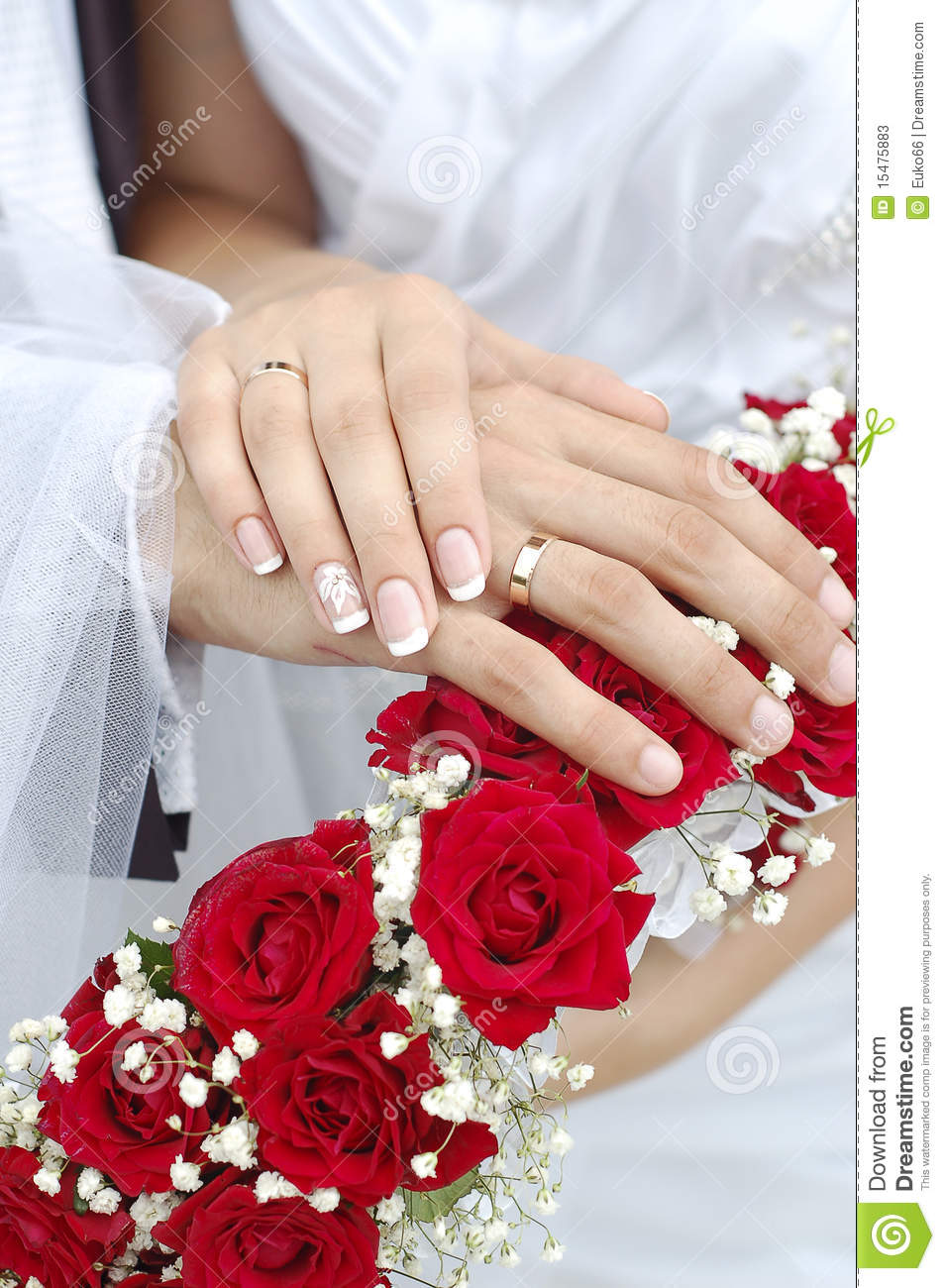 Bridal Groom Wedding Hands On Bouquet Stock Photos Image