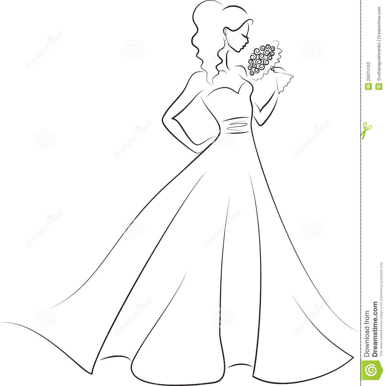 Bride With Bouquet Stock Vector Image Of Evening Hair